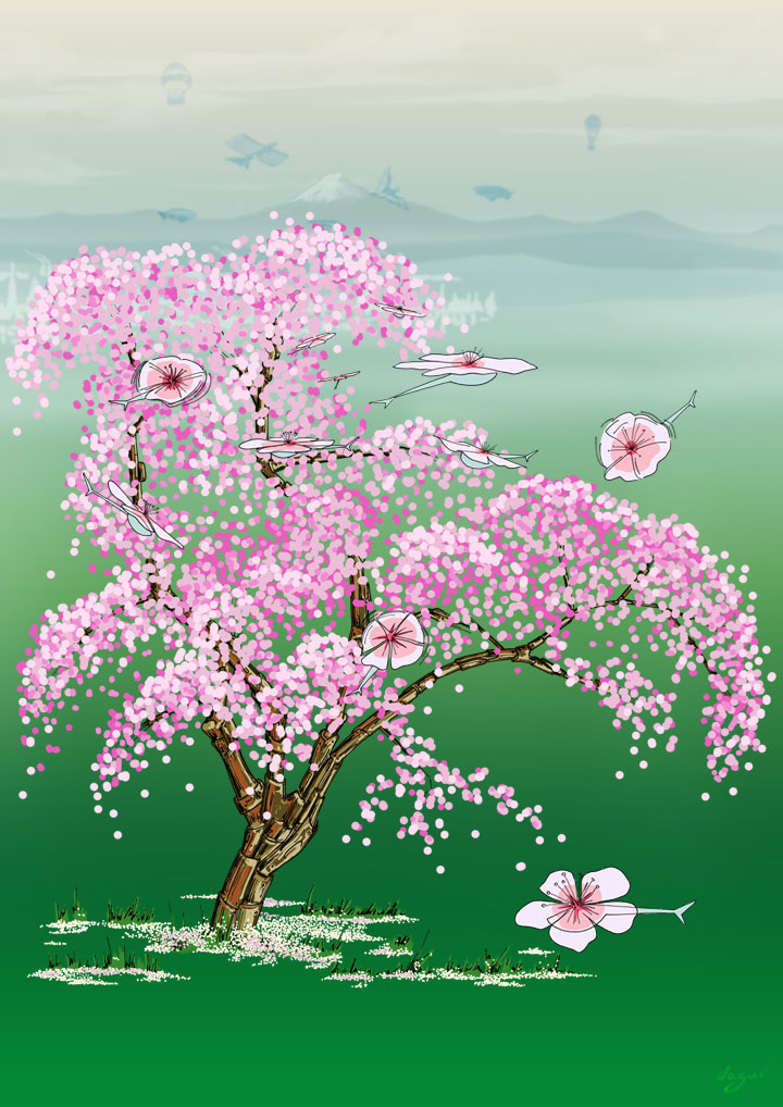 Steampunk Dejeuner In Japan cherry tree alone piece